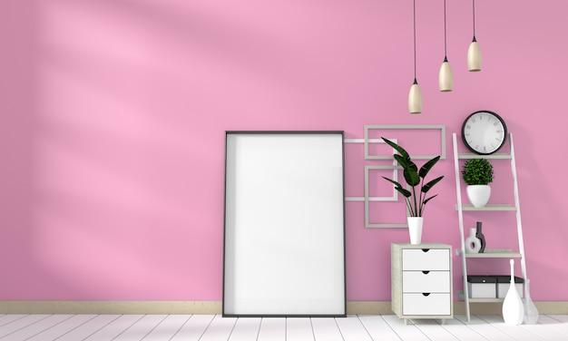 Maquette armoire à affiches moderne dans le salon rose avec un plancher en bois blanc. rendu 3d