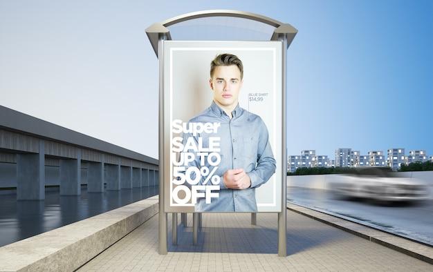 Maquette d'arrêt de bus de mode publicité rendu 3d
