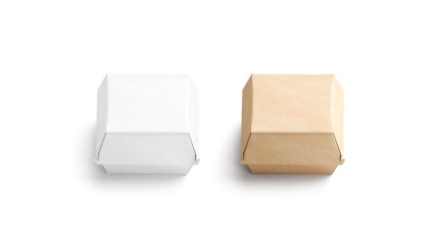 Maquette d'artisanat vierge et de boîte de hamburger blanc emballage de carton de restauration rapide vide maquette isolé
