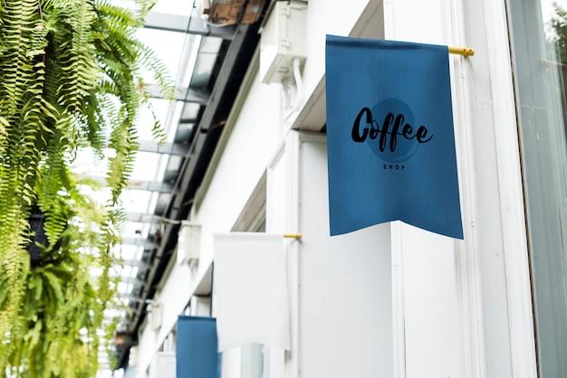 Maquette de bannière bleue café-restaurant