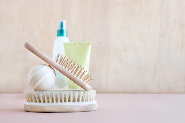 Maquette de bien-être au spa, divers produits de soins de beauté