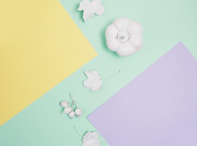 Maquette blanche avec citrouille, baies et feuilles
