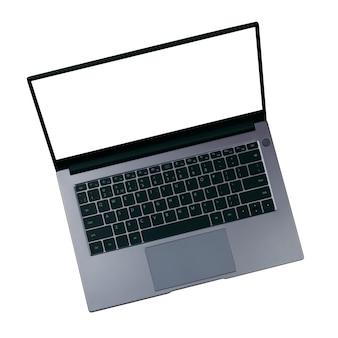 Maquette blanche sur écran d'ordinateur portable isolé sur fond blanc