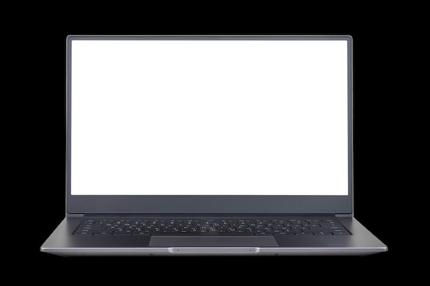Maquette blanche sur écran d'ordinateur portable isolé sur fond noir bouchent la vue de face
