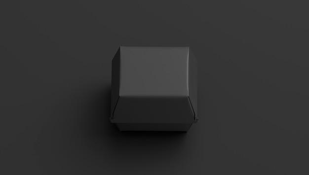 Maquette de boîte de hamburger noir vierge isolée sur fond sombre pack de collations portable vide maquette