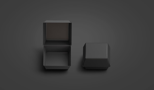Maquette de boîte de hamburger ouverte et fermée noire vierge maquette de paquet de paella de boeuf ou de poulet vide