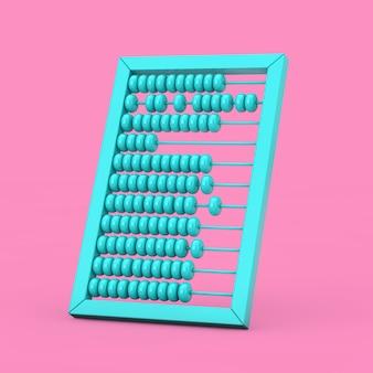 Maquette de boulier en bois vintage bleu dans un style bicolore sur fond rose. rendu 3d