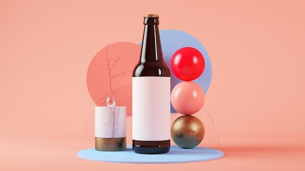 Maquette de bouteille de bière rendu 3d