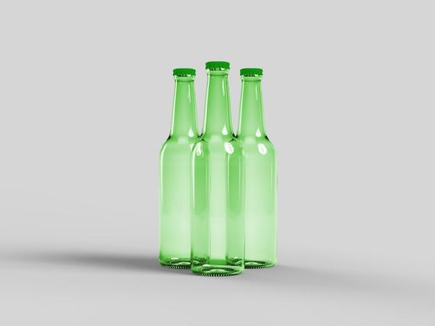 Maquette de bouteille de bière verte isolée - étiquette vierge