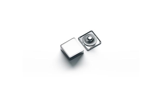 Maquette de bouton pression en métal blanc carré blanc isolé