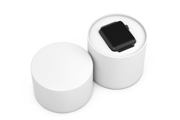 Maquette et bracelet de montre intelligente moderne noire avec boîte-cadeau blanche sur fond blanc. rendu 3d