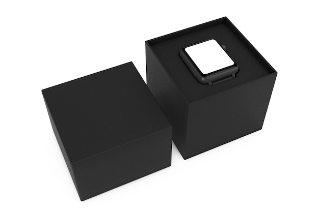 Maquette et bracelet de montre intelligente moderne noire avec boîte-cadeau noire sur fond blanc. rendu 3d