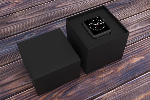 Maquette et bracelet de montre intelligente moderne noire avec boîte-cadeau noire sur une table en bois. rendu 3d