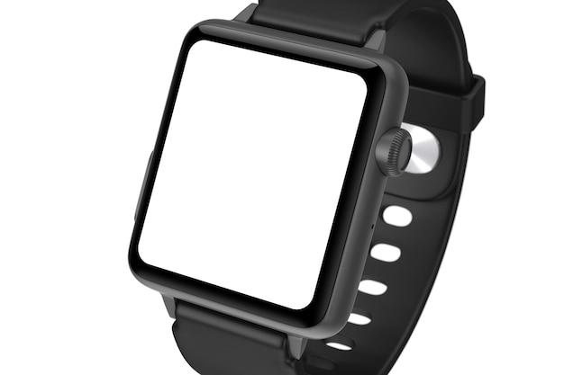 Maquette et bracelet de montre intelligente moderne noire avec écran blanc pour votre conception gros plan sur fond blanc. rendu 3d