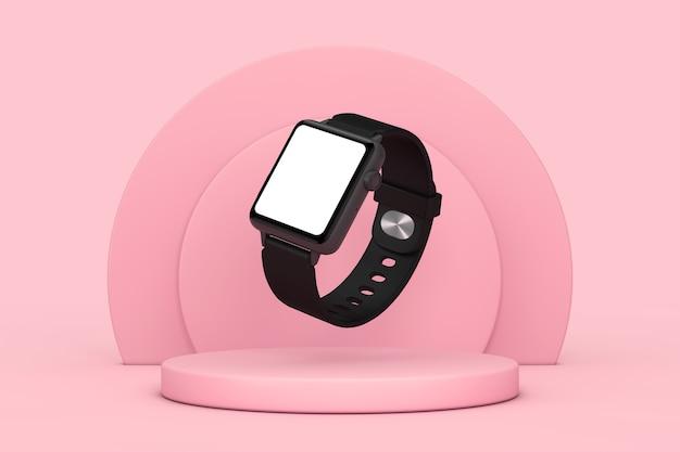 Maquette et bracelet de montre intelligente moderne noire avec écran vide pour votre conception sur piédestal de scène de produits de cylindres roses sur fond rose. rendu 3d