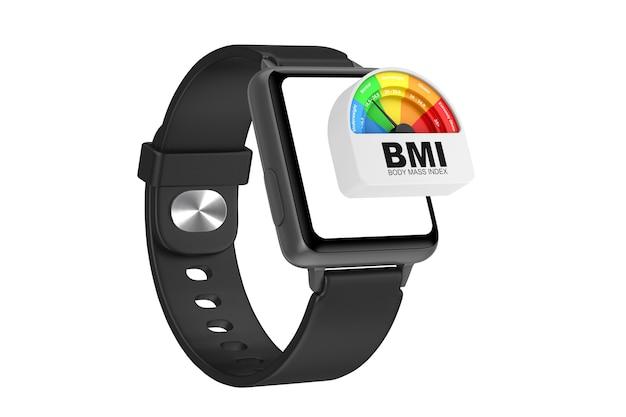 Maquette et bracelet de montre intelligente moderne noire avec imc ou icône de jauge de cadran de compteur d'échelle d'indice de masse corporelle sur un fond blanc. rendu 3d