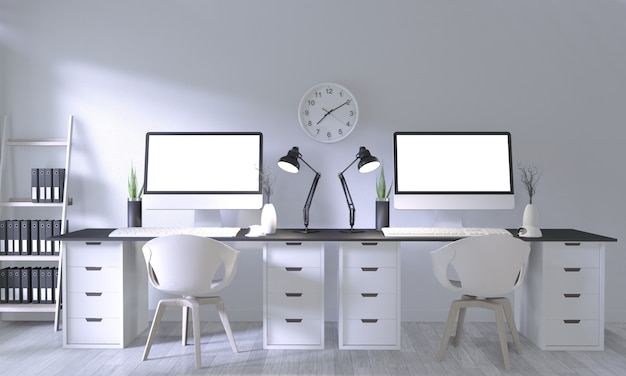 Maquette de bureau avec un design confortable blanc et une décoration sur la salle blanche et un plancher en bois blanc
