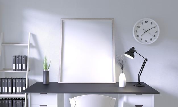Maquette bureau table avec décoration sur salle maquette design