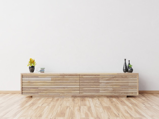 Maquette de cabinet dans une salle vide moderne, mur blanc, rendu 3d