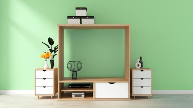 Maquette de cabinet sur le mur vert dans le salon japonais. rendu 3d