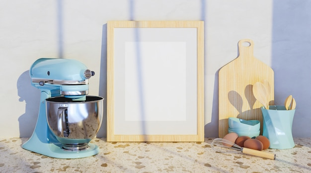 Maquette d'un cadre avec des accessoires de cuisine sur les côtés et un grand mélangeur bleu