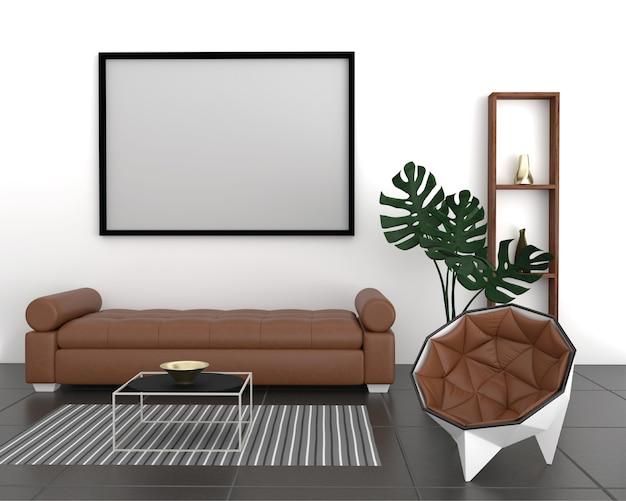 Maquette de cadre d'affiche en arrière-plan intérieur moderne, salon, style de bureau à domicile, rendu 3d, illustration 3d