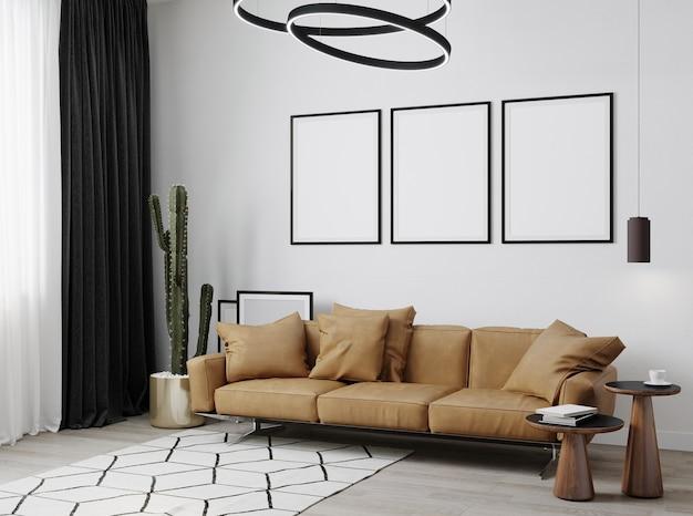 Maquette de cadre d'affiche en arrière-plan intérieur moderne, salon, style scandinave, rendu 3d, illustration 3d