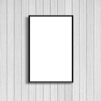 Maquette cadre affiche blanc sur fond de bois blanc moderne