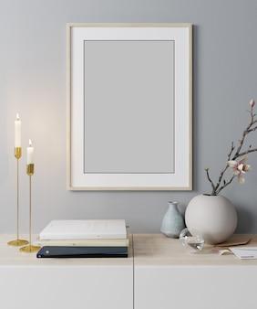 Maquette cadre d'affiche dans un fond intérieur moderne, style scandinave, rendu 3d, illustration 3d