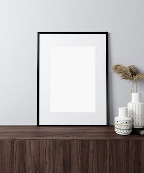 Maquette de cadre d'affiche dans un fond intérieur moderne, style scandinave, rendu 3d