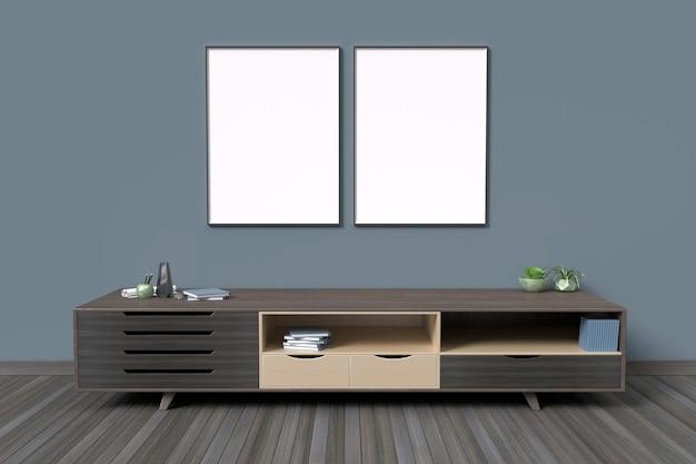 Maquette cadre de l'affiche dans le style de couleur foncée de fond intérieur de la chambre