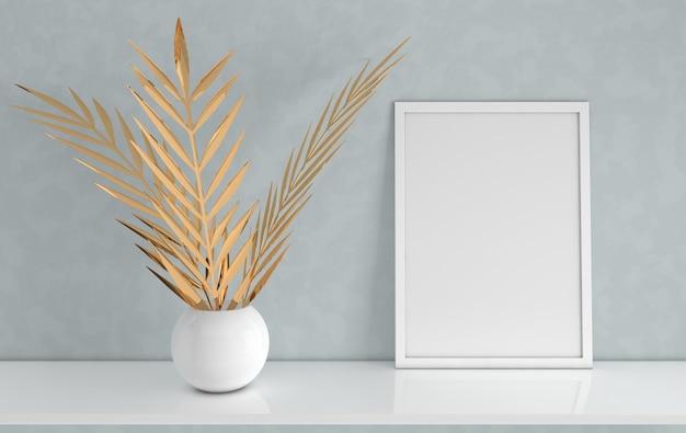 Maquette de cadre d'affiche avec des feuilles de palmier d'or dans le vase sur fond gris