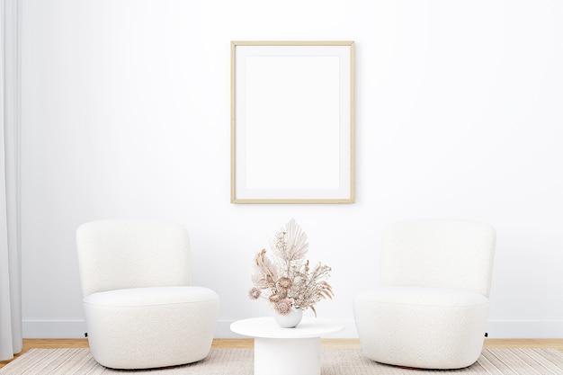 Maquette de cadre blanc dans un cadre en bois de style boho
