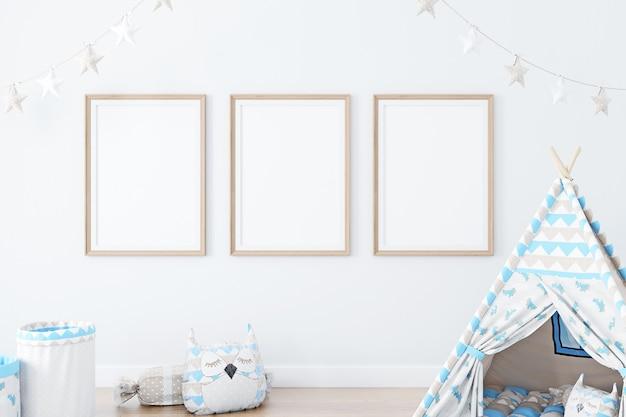 Maquette avec un cadre en bois dans un décor pour enfants
