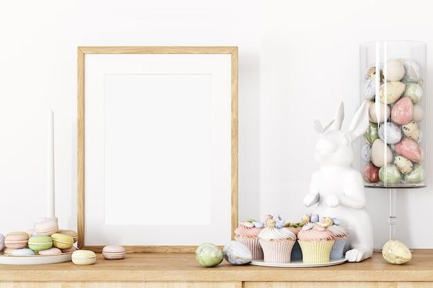 Maquette de cadre en bois et décor de pâques