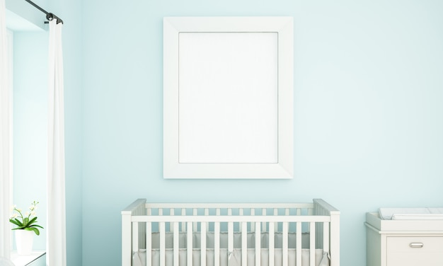 Maquette de cadre sur chambre bébé bleu