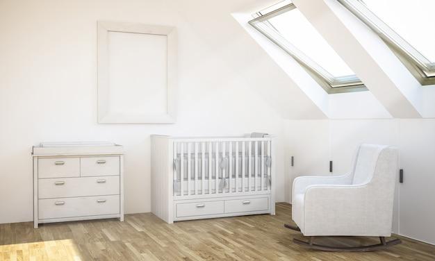 Maquette de cadre sur la chambre de bébé