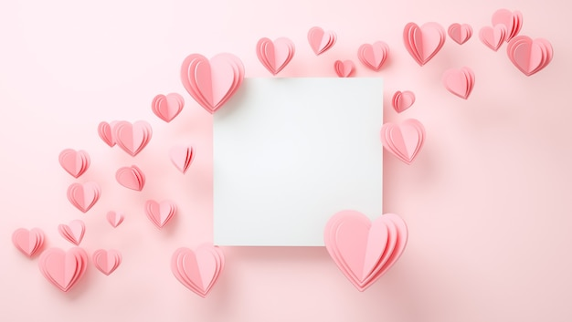 Maquette de cadre avec concept d'amour. saint valentin, fête des mères, invitation de mariage. rendu 3d