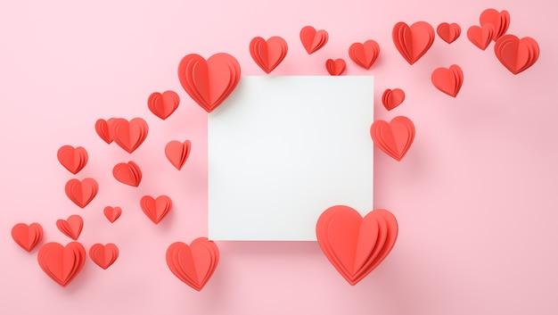 Maquette de cadre avec concept d'amour. saint valentin, fête des mères, invitation de mariage