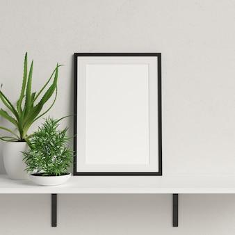 Maquette de cadre sur une étagère blanche avec une décoration végétale minimaliste