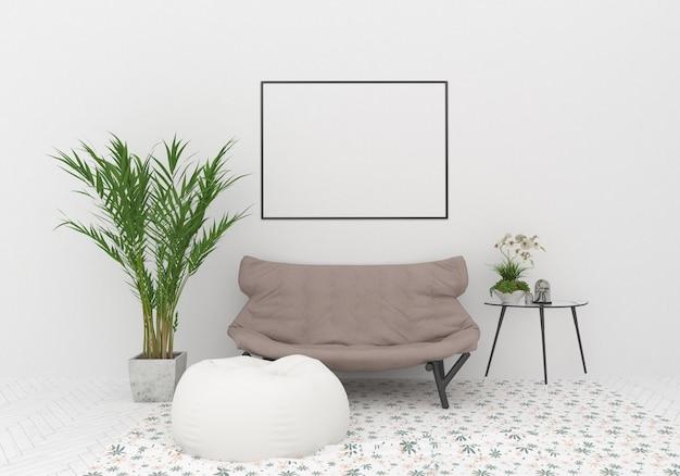 Maquette de cadre horizontal dans un intérieur scandinave