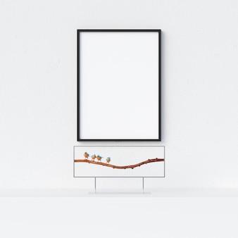 Maquette de cadre à l'intérieur blanc avec décoration