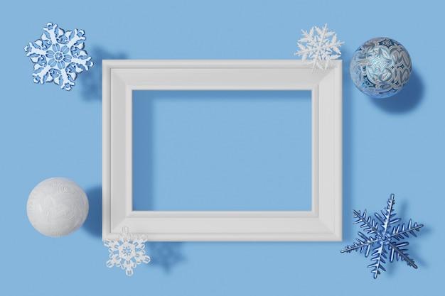 Maquette de cadre photo horizontal de rendu 3d, flocons de neige et boules avec texture givrée sur fond bleu