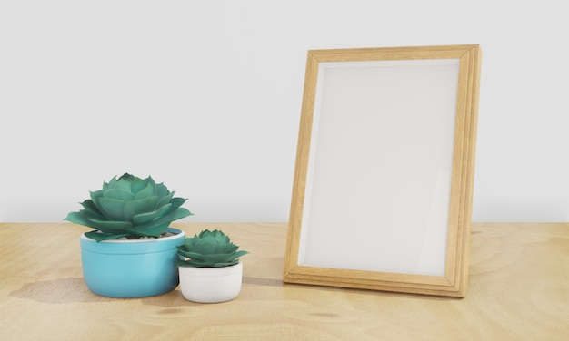 Maquette de cadre photo et de plantes succulentes