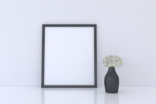 Maquette de cadre photo avec vase à fleurs