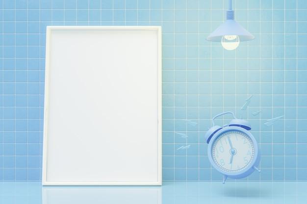 Maquette de cadre photo vide et réveil bleu sur table.