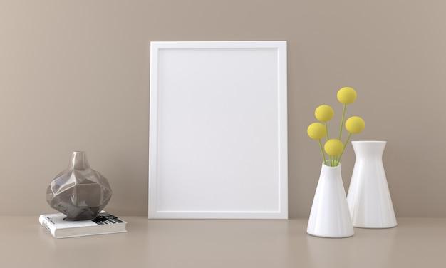 Maquette de cadre photo vide avec des vases à fleurs