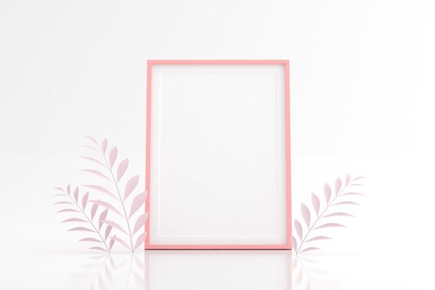 Maquette de cadre photo vierge avec feuille sur un espace blanc.