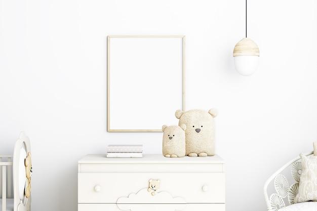 Maquette de cadre pour enfants boho et ours plus