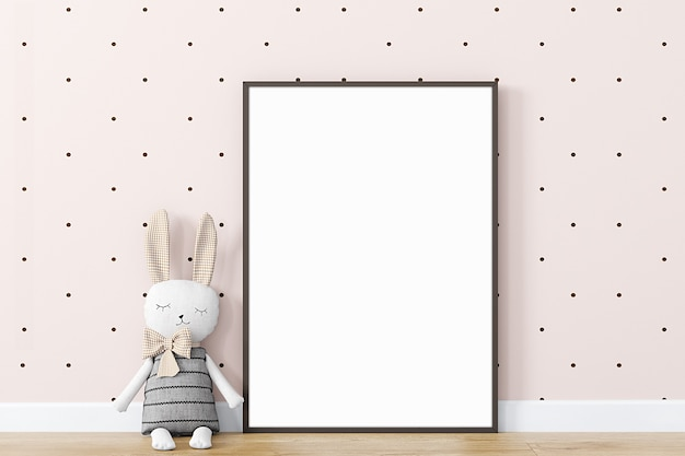 Maquette de cadre pour enfants avec un lapin en peluche a4